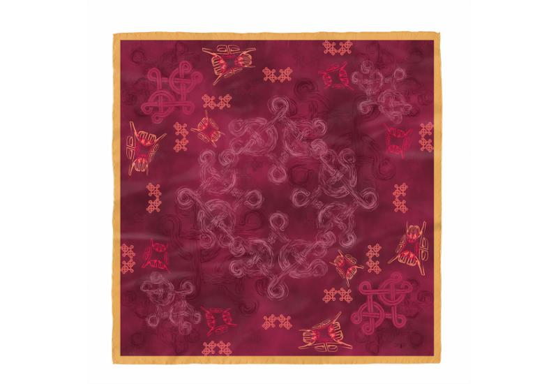 Scarf CROATA Brijuni Braiding and glagolitic alphabet Thematic Wine red