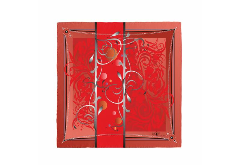 Scarf CROATA 8 Flora and Fauna Classic Red