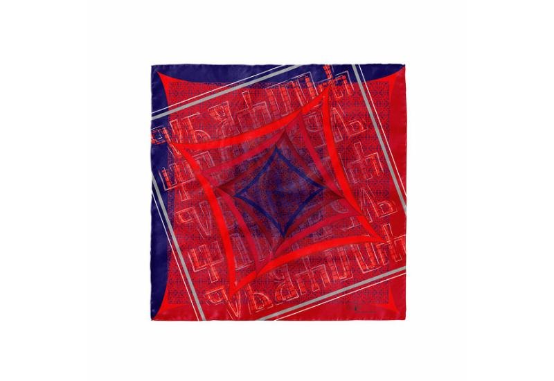 Scarf CROATA 8 Glagolitic alphabet Thematic Red