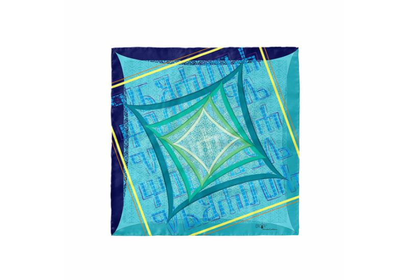 Scarf CROATA 8 Glagolitic alphabet Thematic Turquoise