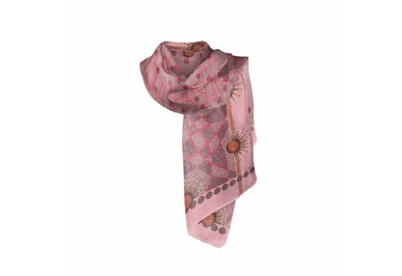 Shawl CROATA Braiding and glagolitic alphabet Thematic Pink