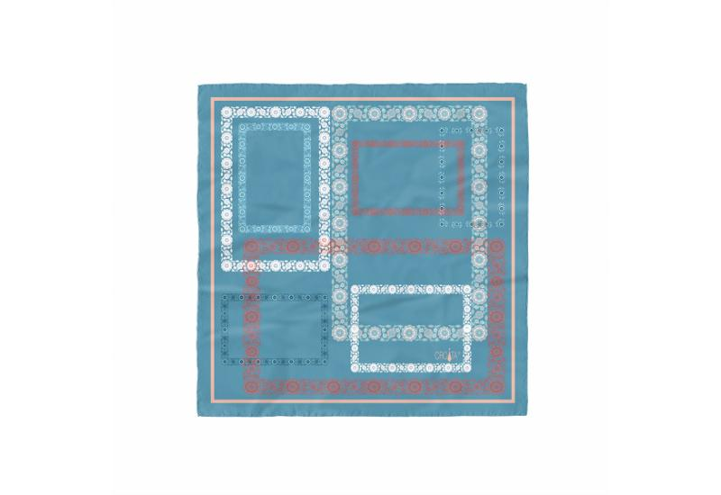 Small scarf CROATA Folk embroidery Thematic Light blue